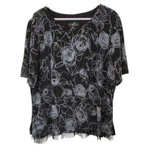 3/$25  short sleeve beaded scoop neck top blouse